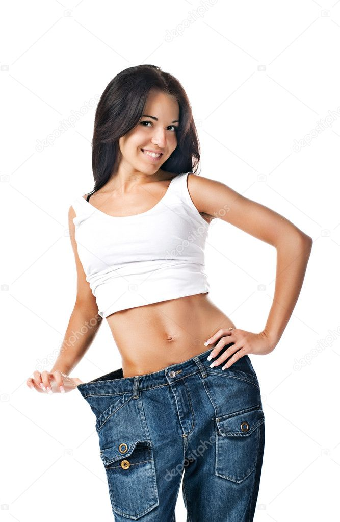 Young Demonstrating Weight Loss Stock Photo 3792664