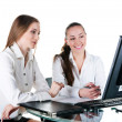Stock Photo: Two businesswomworking in team