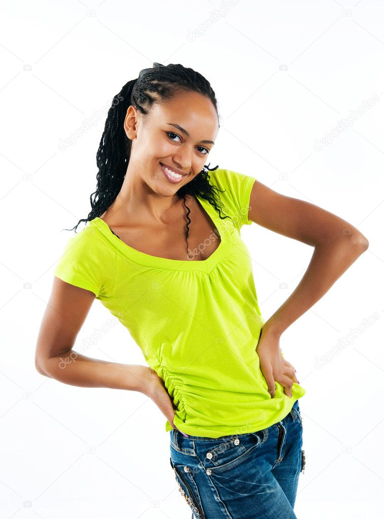 Beautiful mulatto girl on white background — Stock Photo #3847786