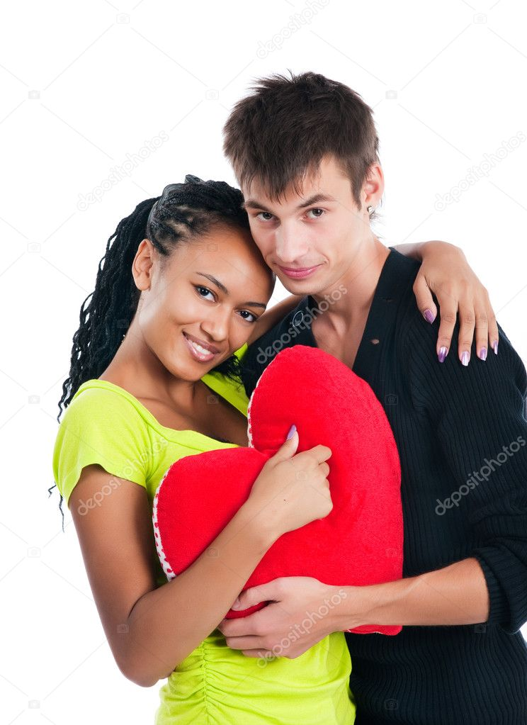 Heterosexual couple with a big heart on white background — Stock Photo #3847806