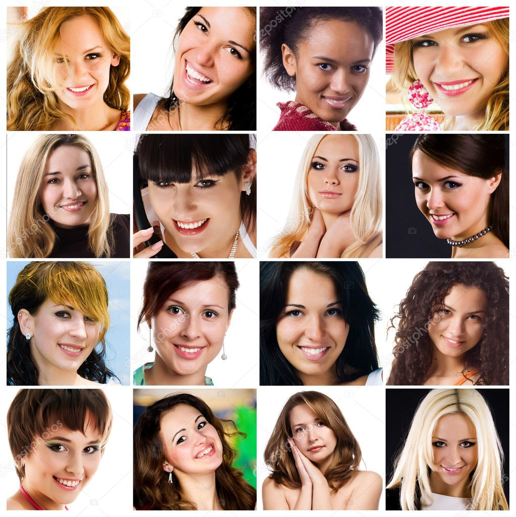 Collage of photos of attractive smiling woman — Stock Photo #3864934