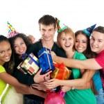 Teenagers celebrate birthday — Stock Photo