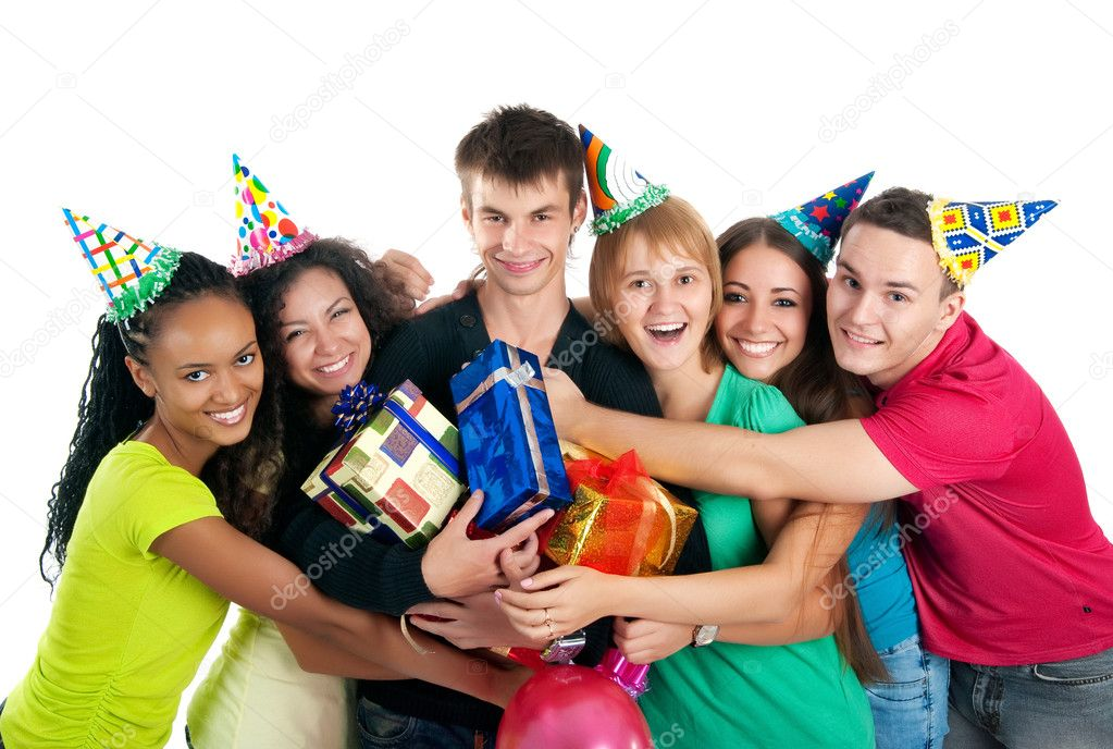 Group of teenagers celebrate birthday. Isolated — Stock Photo #3914016
