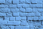 The blue painted brick wall — Stock Photo