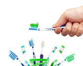 Зубная щетка и зубная паста — Стоковое фото