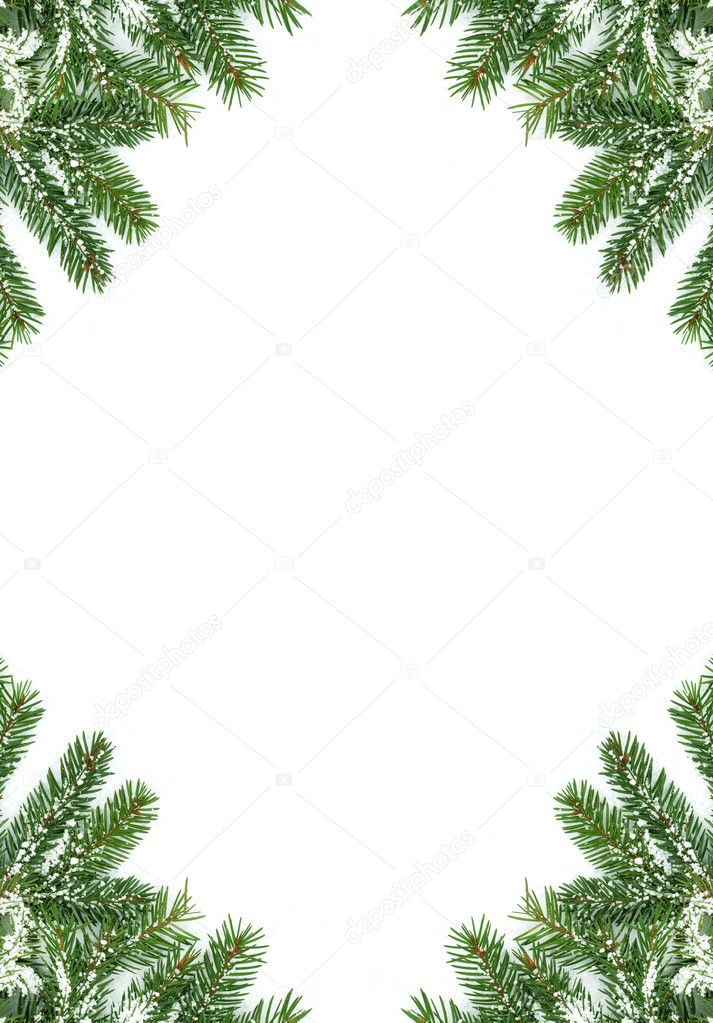 Christmas framework with snow isolated on white background — Stock Photo #3100610