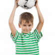 Boy holding soccer ball - Stock Photo