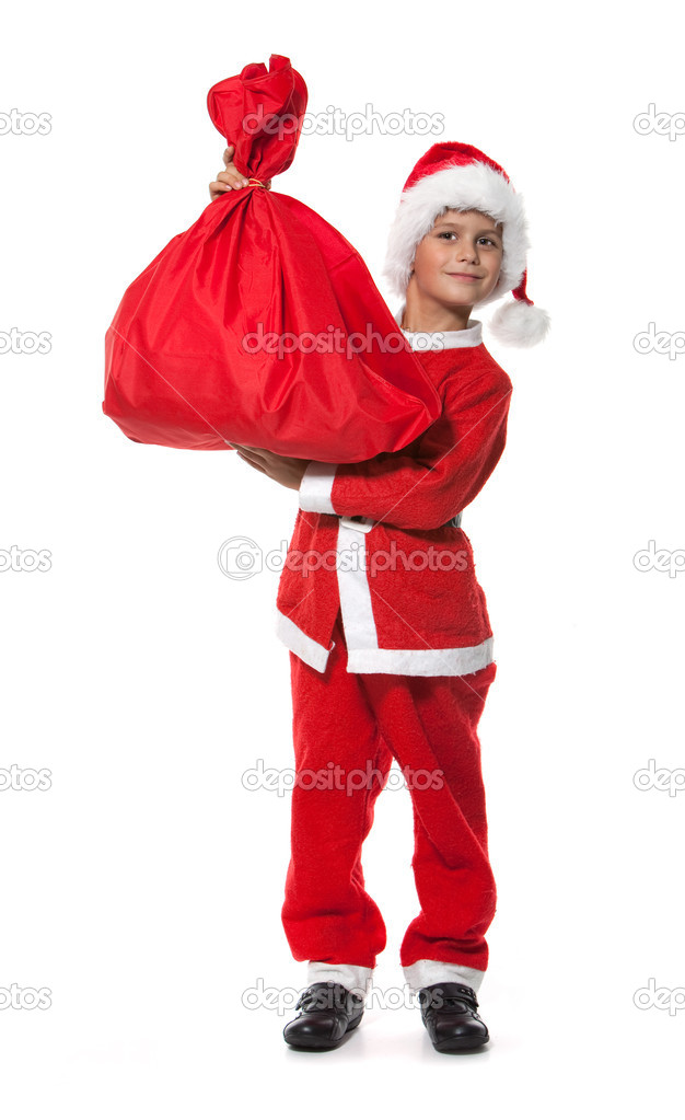 Boy holding a sack isolated on white background — Stock Photo #3834644