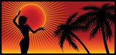 Girl on sunset background. — Stock Vector