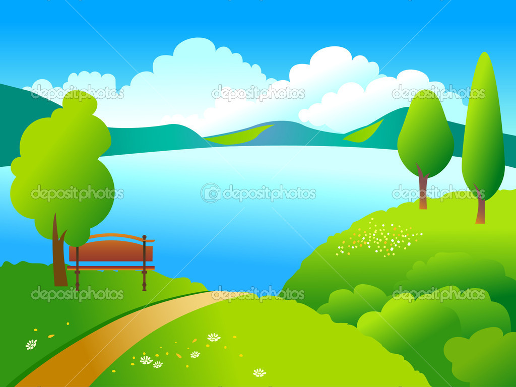 Rural landscape with green trees and blue like. — Stock Vector #2835915