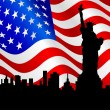 Royalty-Free Stock Vector Image: American flag and statue of liberty.