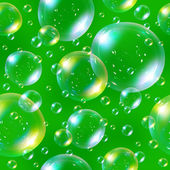Seamless soap bubbles on green background. — Stock Photo