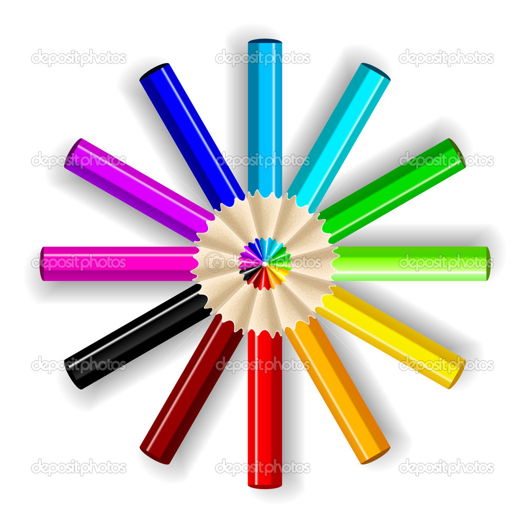 Varicolored color pencils set isolated on white background. — Stock Vector #3808121