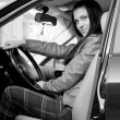 Woman in automobile — Stock Photo