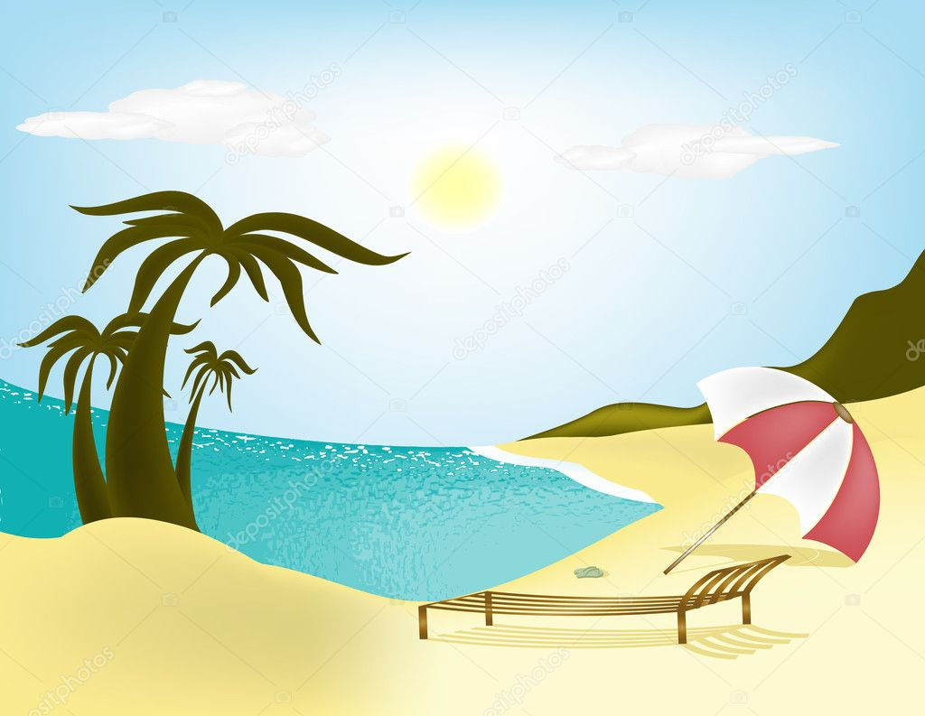 Illustration sea, beach, palm trees and sun loungers with umbrella  Stock Vector #3413669