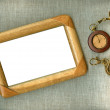 Wooden frame with old watch — Stok fotoğraf