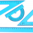 Stock Photo: Set of measurement instrument- protractor, ruler