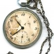 Old  pocket watch with chain - Stock Photo