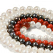 Beads of pearl and coral — Stock Photo