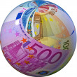 Concept - Globe made of euro banknotes — Stock Photo