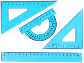 Set of measurement instrument- protractor, ruler — Stock Photo
