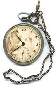 Old pocket watch with chain — Stock Photo
