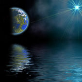 Illustration: landscape with planet reflected in water — Stock Photo