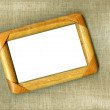 Wooden frame on canvas — Stock Photo