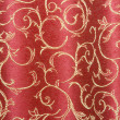 Floral  red curtain as background - Stock Photo