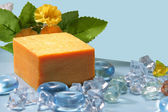 Soap with natural ingredients — Stock Photo