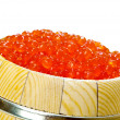 Keg of red caviar on the white - Stock Photo