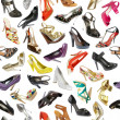 Seamless  background from shoes - Stockfoto