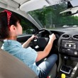 Women driving a car — 图库照片
