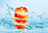 Apple and water — Stock Photo