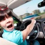 ženy řídit auto — Stock fotografie