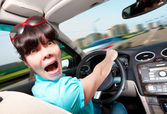 Women driving a car — Stock Photo