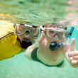 Two boys underwater - Stock Photo