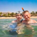 Two boys on a beach — Stock Photo