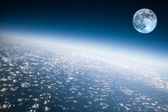 Planet Earth and Moon — Stock Photo