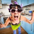 Crazy housewife - Stock Photo