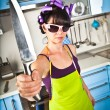Crazy housewife — Stockfoto