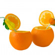 Stock Photo: Two orange with tubes for cocktail