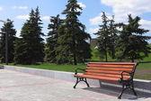 在城市公园中新张木凳上 — 图库照片