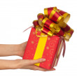 Gift with yellow bow - Foto de Stock