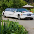 White wedding limousine. Ornated with flowers. — Foto Stock #4452037