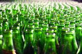 Bunch of green glass bottles. Soft focus. — Stock Photo