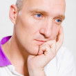 Portrait of the bald man. Thinking about something. — Stock Photo