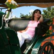 Beautiful young woman sits in the old carriage - Stok fotoğraf