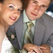Portrait smiling groom and bride — Stock Photo #4708574