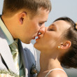 Bride and groom kissing — Stock Photo #4708576